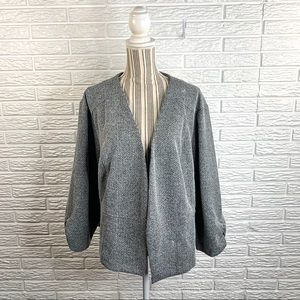 Maurices Grey Open Blazer Ruched Sleeves